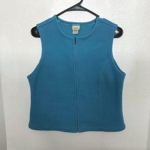 LL Bean Blue Fleece Zip Up Vest